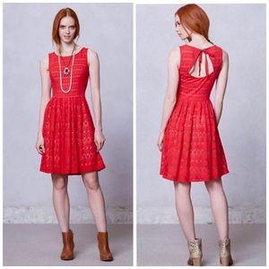 Anthropologie Postmark Red Sunstream Eyelet Dress